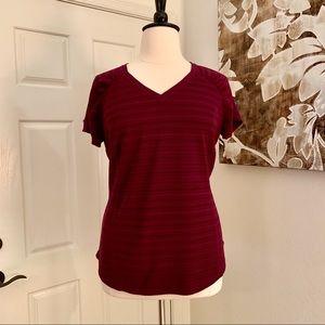 Xersion Slim Fit Wine Color Activewear Top